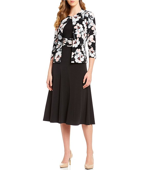 Jessica Howard 3/4 Sleeve Floral Print Swing Stretch Jacket Dress