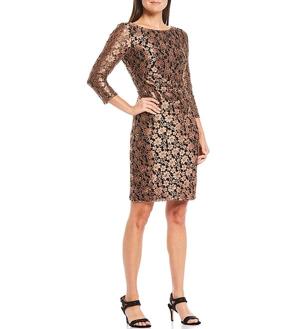 Color:Black Bronze - Image 1 - 3/4 Sleeve Lace Sheath Dress