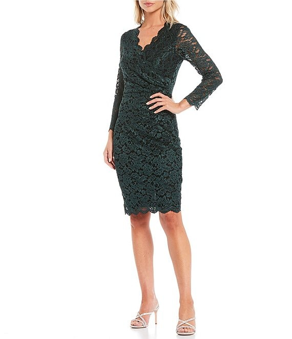 Color:Hunter - Image 1 - 3/4 Sleeve Surplice Glitter Two-Tone Lace Scallop Hem Sheath Dress