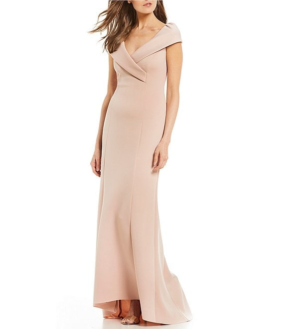 bbbf085d953 Jessica Howard Cap Sleeve Portrait Collar Gown