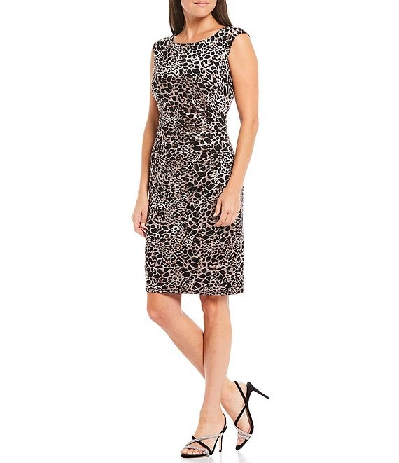 Color:Rose Gold - Image 1 - Cap Sleeve Side Tuck Leopard Print Glitter Metallic Lace Sheath Dress