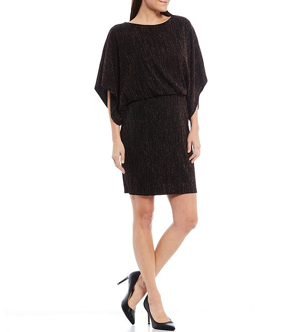 Color:Black Bronze - Image 1 - Dolman Sleeve Metallic Stripe Knit Blouson Dress