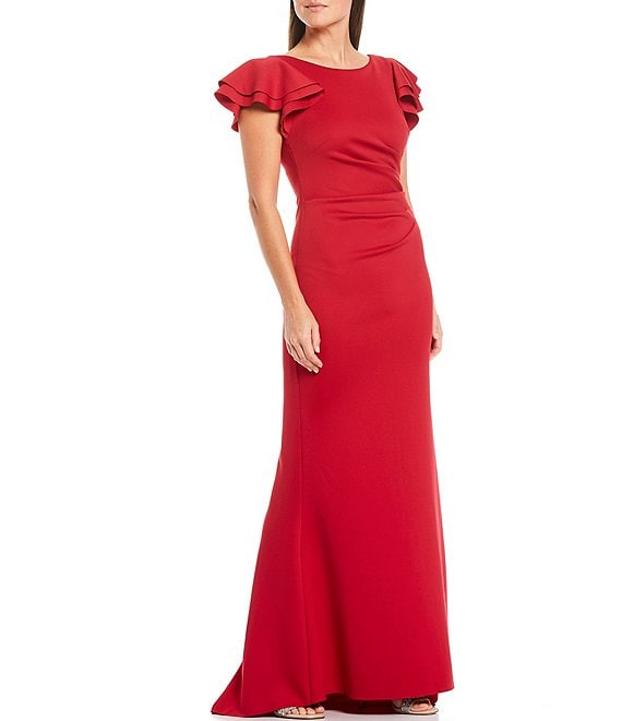 Color:Ruby Red - Image 1 - Flutter Sleeve Ruched Waist V-Back Scuba Knit Gown