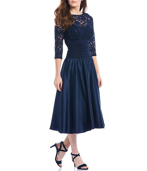 Color:Navy - Image 1 - Illusion Ruched Waist Midi Dress