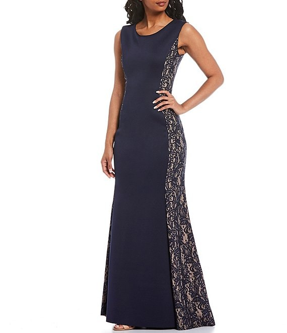 Color:Navy/Tan - Image 1 - Illusion Side Lace Scuba Crepe Sleeveless Mermaid Gown