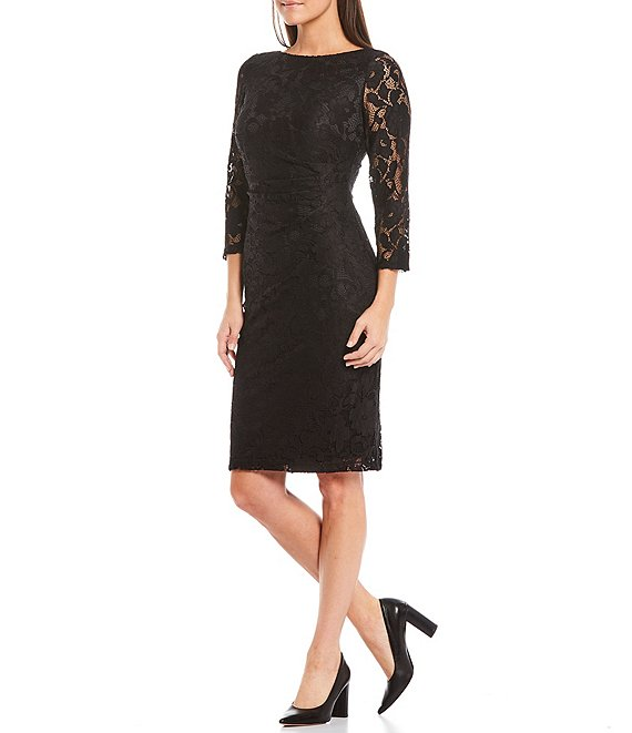 Color:Black - Image 1 - Lace 3/4 Sleeve Ruched Waist Sheath Dress