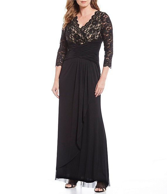 Color:Black/Tan - Image 1 - Lace V-Neck Bodice Ruched Waist Gown