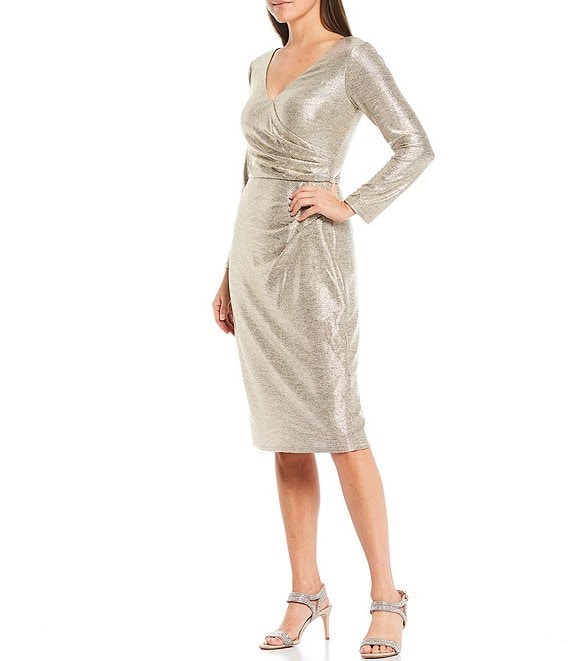 Color:Champagne - Image 1 - Long Sleeve Surplice V-Neck Side Tuck Metallic Sheath Dress