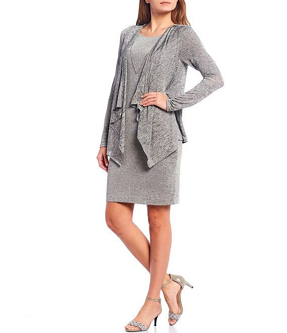 Color:Grey - Image 1 - Metallic Puff Knit Drape Jacket Dress