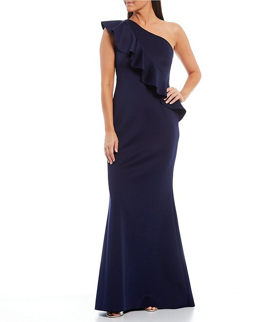 Color:Navy - Image 1 - One Shoulder Ruffle Long Gown