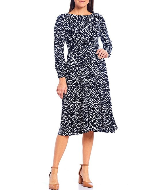 Color:Navy/Ivory - Image 1 - Petite Size Long Sleeve Printed Midi Dress