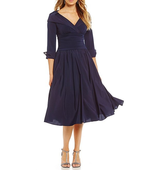 Color:Navy - Image 1 - Portrait Collar A-Line Midi Dress