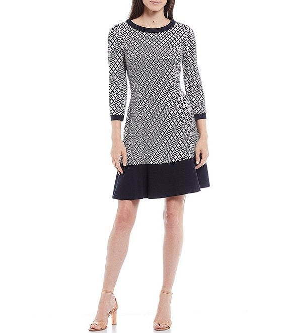Color:Navy/White - Image 1 - Printed Knit 3/4 Sleeve A-Line Dress