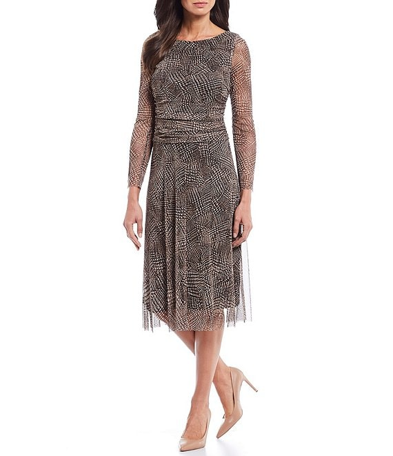 Color:Black/Brown - Image 1 - Printed Mesh Long Sleeve A-Line Midi Dress