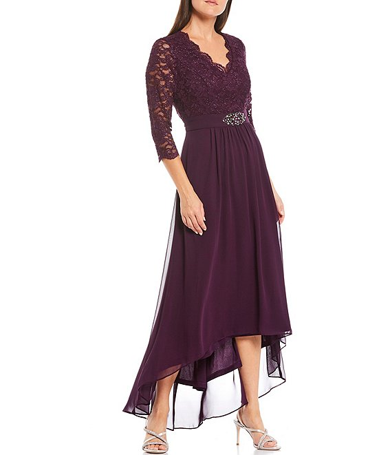 Color:Plum - Image 1 - Scallop Neck Trim 3/4 Sleeve Beaded Waist Detail Lace V-Neck Gown