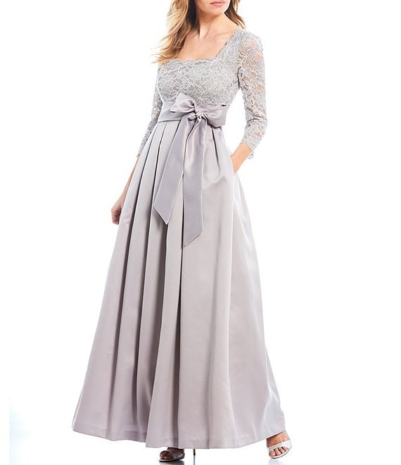 Color:Grey - Image 1 - Square Neck Tie Waist Glitter Lace Bodice Satin Ball Gown