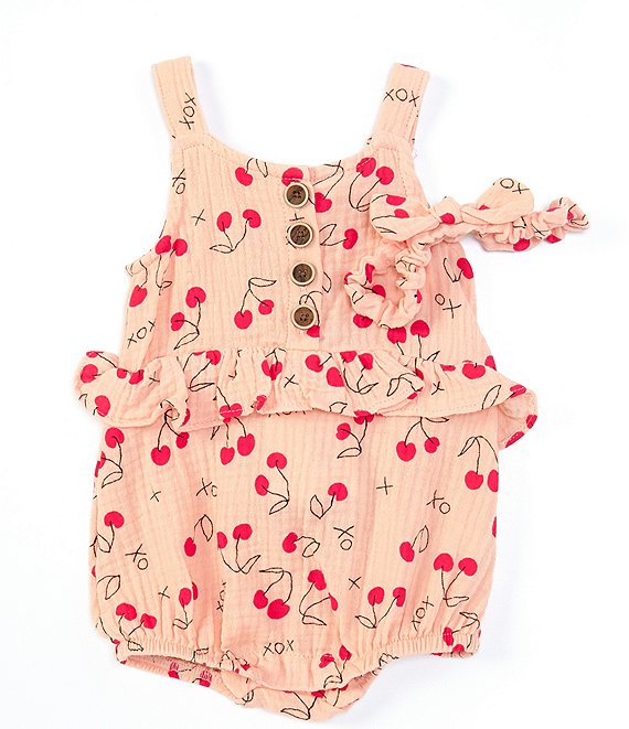 Jessica Simpson Baby Girls Newborn-24 Months Sleeveless Cherry-Printed Romper