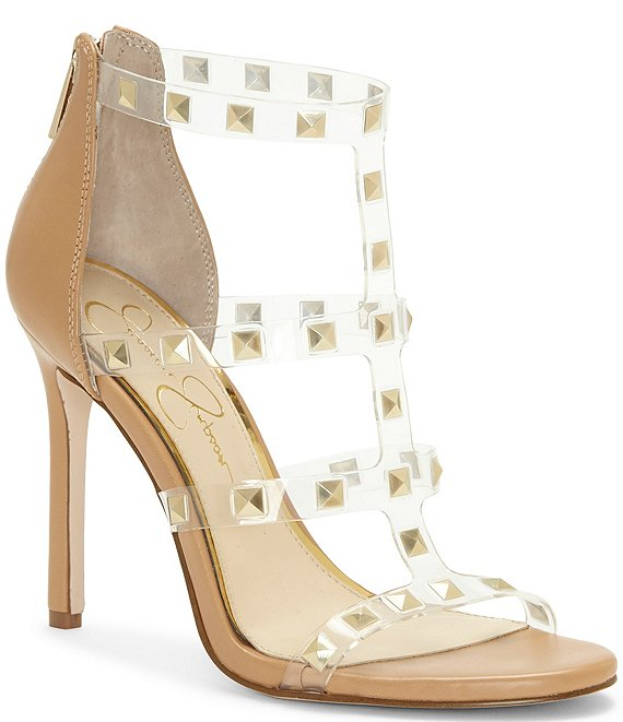 Color:Buff - Image 1 - Jiria Clear Studded Sandals