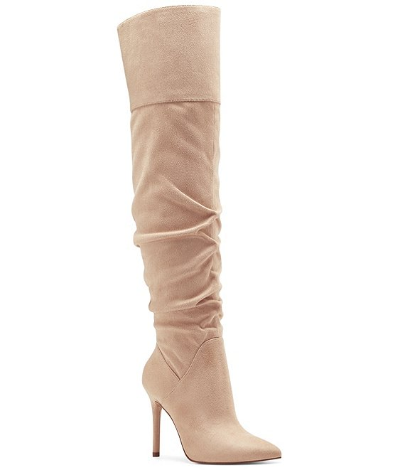 Color:Almond - Image 1 - Loury Over-the-Knee Pointed Toe Boots