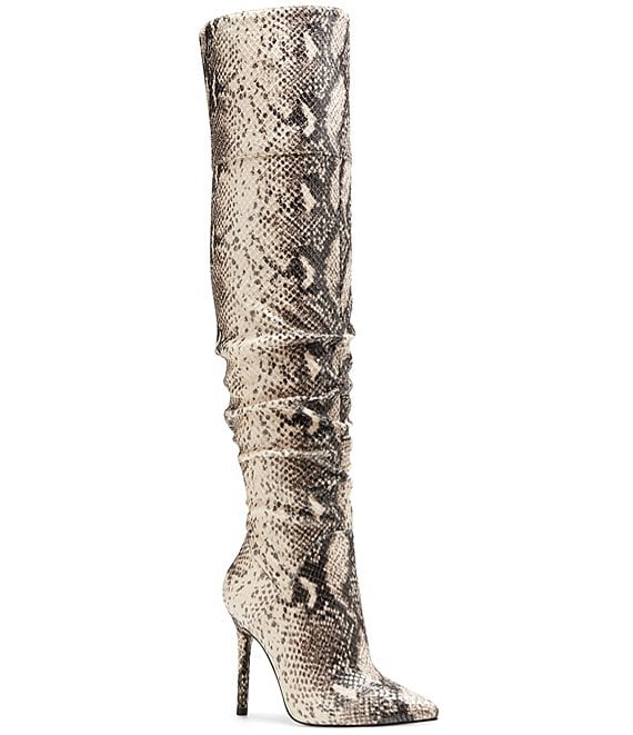 Color:Neutral Snake - Image 1 - Loury Snake Print Over-the-Knee Pointed Toe Boots