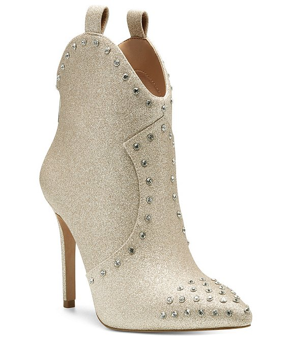 Color:Gold - Image 1 - Pixillez3 Glitter Stud Western Booties