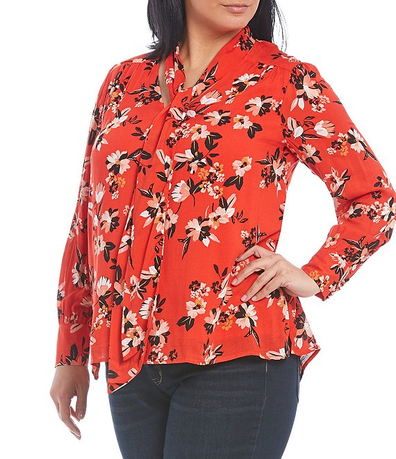 Color:Fiery Red - Image 1 - Plus Size Dazed Floral Print Long Bubble Sleeve Twilly Blouse