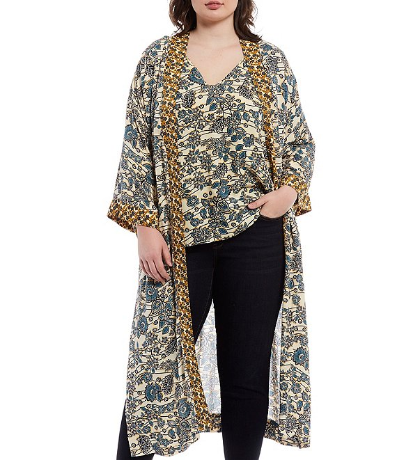 Color:Frozen Dew/Wired Floral - Image 1 - Plus Size Waverly Wired Floral Long Sleeve Cardigan