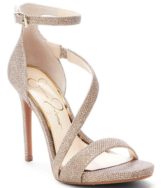 827ab7e8b6a1 Jessica Simpson Rayli Sparkle Fabric Strappy Dress Sandals