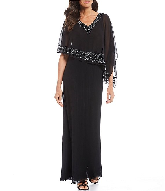 Jkara Embellished V-Neck Asymmetrical Pop-Over Gown