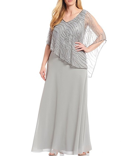 Color:Silver/Mercury - Image 1 - JKara Plus Size V-Neck Short Sleeve Beaded Bodice Asymmetric Popover Chiffon Gown