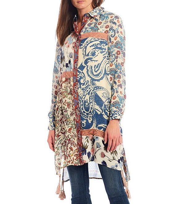 Color:Multi - Image 1 - Mixed Media Paisley & Floral Print Button Front Long Tassel Tunic