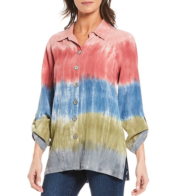 Color:Multi - Image 1 - Roll Tab Sleeve Tie Dye Blouse