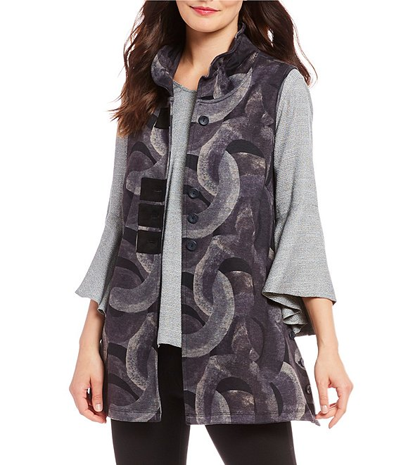 John Mark Wire Collar Knit Printed Vest
