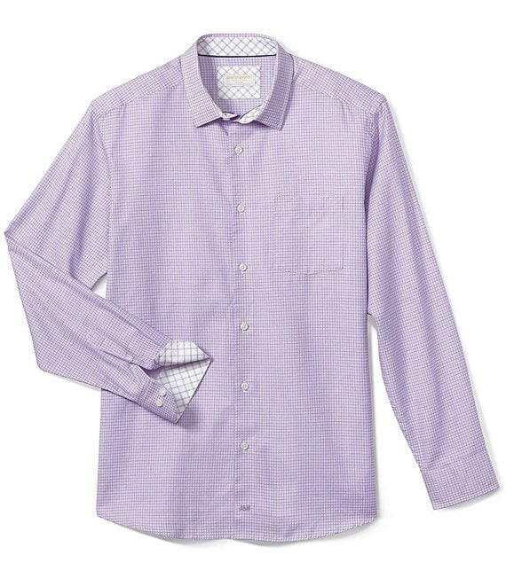 Color:Purple - Image 1 - Collection Linked Grid Long-Sleeve Woven Shirt