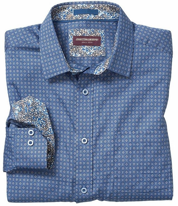 Johnston & Murphy Floral Dot Print Long-Sleeve Woven Shirt