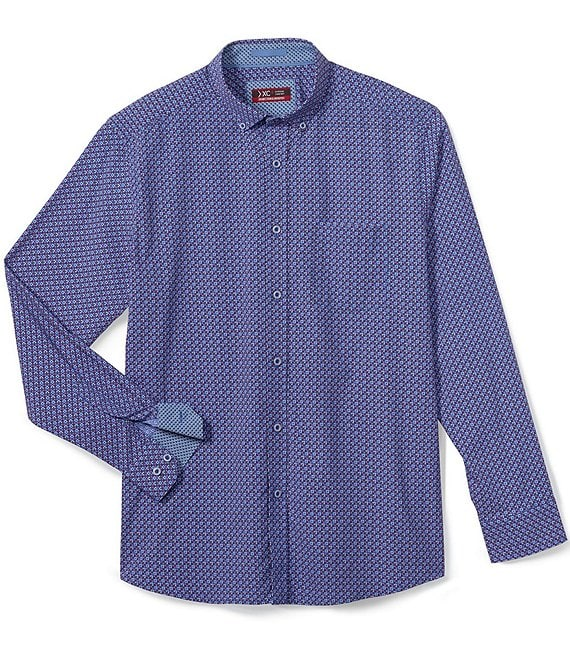 Color:Navy - Image 1 - XC4 Color Wheel Print Stretch Long-Sleeve Woven Shirt