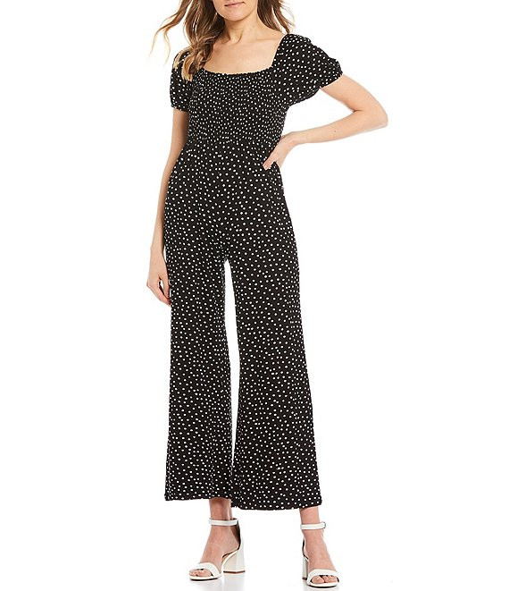 Color:Black - Image 1 - Printed Puff Sleeve Smocked Bodice Jumpsuit