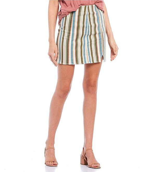 Color:Olive Cream - Image 1 - Stripe Printed Seamed Side Notch Skirt