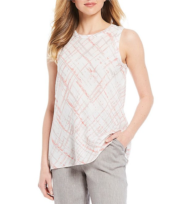 Jones New York Plaid Matelasse Jacquard Crew Neck Linen Blend Sleeveless Top