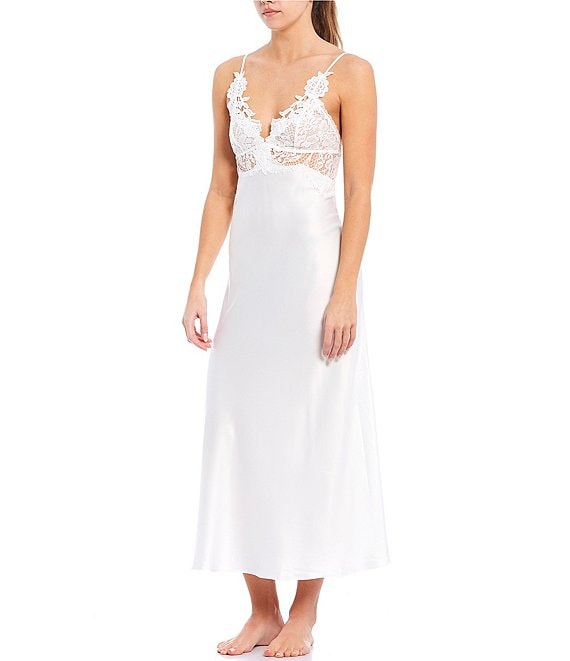 Color:Ivory - Image 1 - Jonquil Caterina Matte Satin & Lace Long Gown