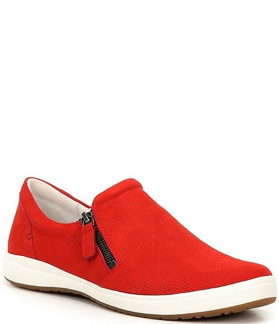 Color:Red - Image 1 - Caren 22 Leather Perforated Sneakers