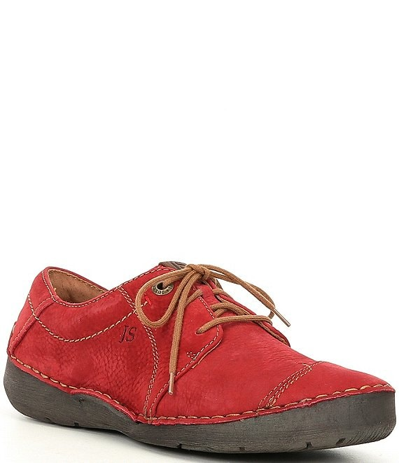 Color:Red - Image 1 - Fergey 20 Leather Oxford Sneakers