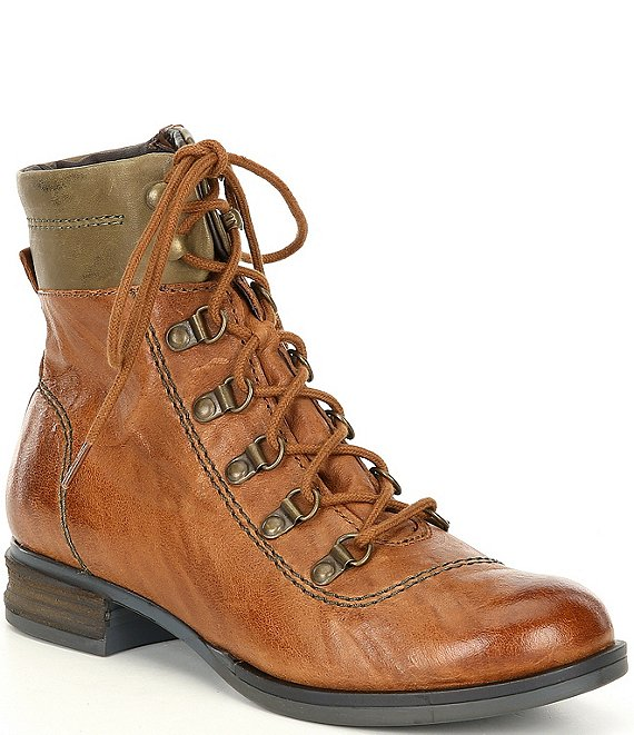 Color:Brown - Image 1 - Sanja 09 Lace-Up Block Heel Boots