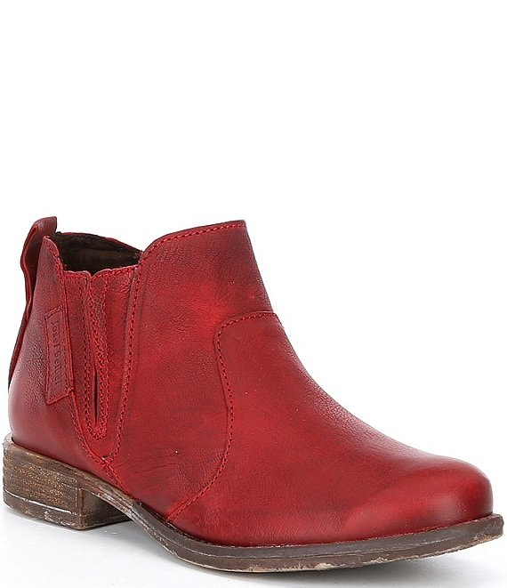 Color:Red Washed - Image 1 - Sienna 45 Leather Block Heel Booties