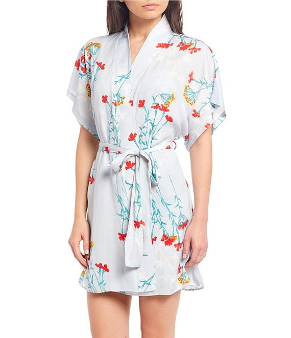 Color:Pale Silver - Image 1 - Meadow Floral Print Washed Satin Short Wrap Robe