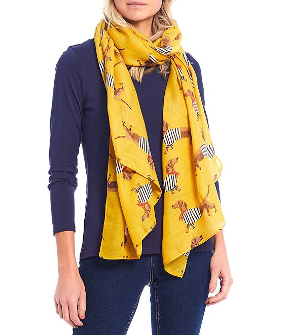 Color:Gold Dog - Image 1 - Hand Drawn Dachshund Print Rectangle Scarf