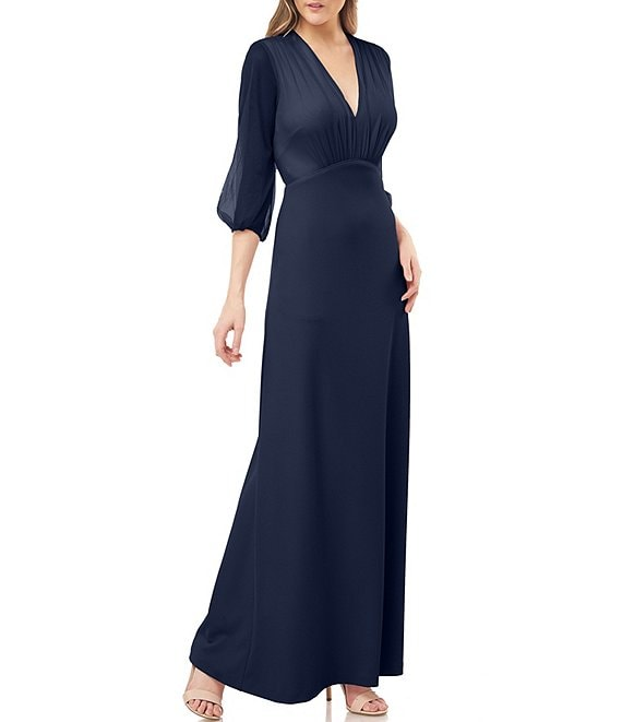 JS Collections 3/4 Balloon Sleeve V-Neck Empire Waist Gown