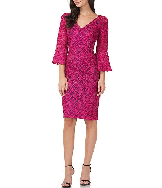 Color:Magenta/Midnight - Image 1 - Bell Sleeve Soutache Mesh Lace Sheath Dress