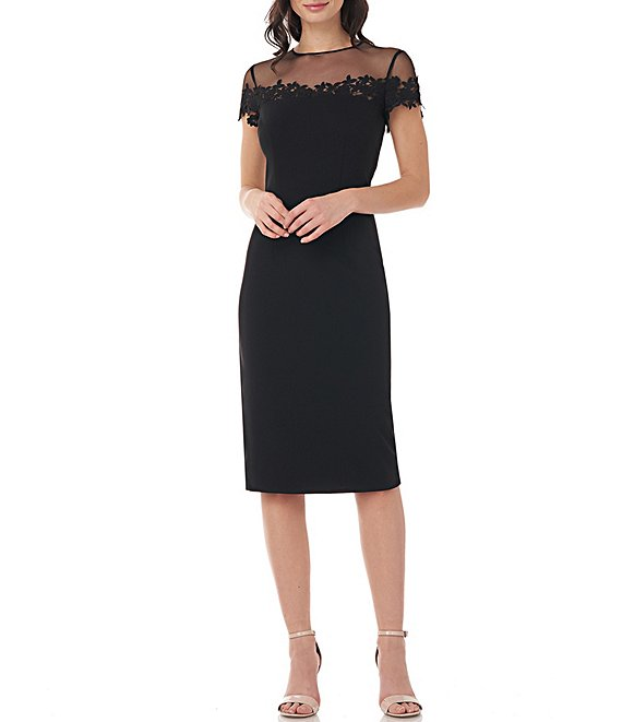 Color:Black - Image 1 - Floral Embroidered Illusion Neck Short Sleeve Stretch Crepe Sheath Dress