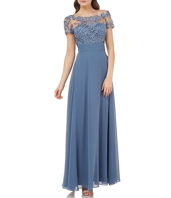 Color:Mineral Blue - Image 1 - Illusion Beaded Bodice Short Sleeve A-Line Chiffon Gown